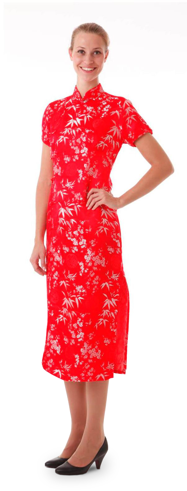 rot kleid with silber